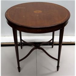 """Round Wooden Side Table w/ & Painted Border 29""""Dia x 29""""H"""