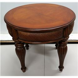 "Round Wooden Table w/ Tapered Legs & Woven Rattan Accent 27""Dia x 24""H"