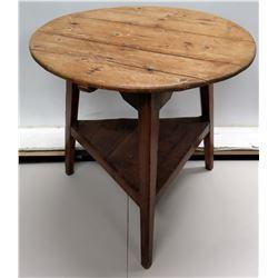 "Vintge Round Wood Table w/ Triangular Undershelf 29"" Dia x 28"" High"