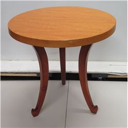 Wooden Round Side Table w/ 3 Curved Legs 23  Dia x 23  H