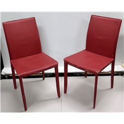 Qty 2 Burgundy Synthetic-Upholstered Chairs 18 W, 36 H