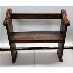 Antique Wooden Bench w/ Curved Arm Rails 40  x 38