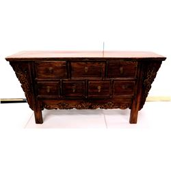 Vintage Carved Wood Chest of Drawers w/ Carved Accents & Brass Pulls 62  x 17  x 30 H