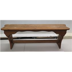"Carved Antique Wooden Bench 53"" x 10"" x 23""H"