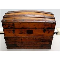"Wooden Trunk Chest w/ Metal Hardware 34"" x 21"" x 26""H (has hole on bottom)"
