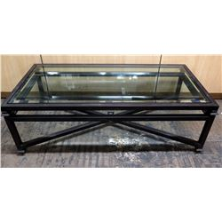 Modern Black Metal Coffee Table w/ Glass 50  x 30  x 20 H