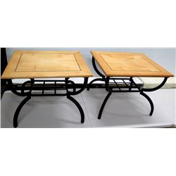 Qty 2 Wood Top Game Tables w/ Black Metal Base 27  x 23.5  x 21 H