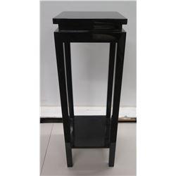 "Black Wooden Plant Stand w/ Undershelf 14"" Dia x 42""H"