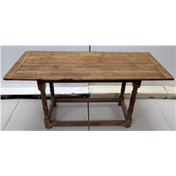 Antique Ditressed Wooden Farm Table 56  x 25  x 27 H