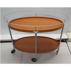 """Round Rolling 2-Tier Brown Oval Cart w/ Metal Rails 36"""" x 19"""" x 30""""H"""