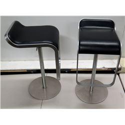 "Qty 2 Italian Black Upholstered Square Metal Stools on Pedestal Base 14"" Dia x 30""H"