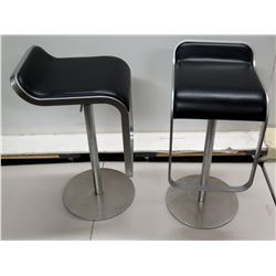 Qty 2 Italian Black Upholstered Square Metal Stools on Pedestal Base 14  x 13  x 28 H
