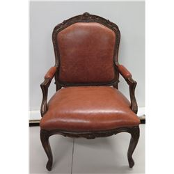 Queen Anne Style Upholstered Carved Wood Armchair 25  x 20  x 43 H
