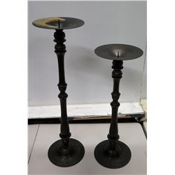Qty 2 Tall Black Metal Pillar Candle Holders 32  & 38 H