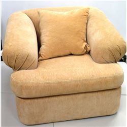 "Plush Oversized Kreiss Collection Beige Armchair & Accent Pillow 42"" Dia x 31""H"