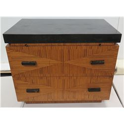 Modern Design Kreiss Collection 2-Drawer Chest w/ Black Top & Pull-Out Desk 34  x 24  x 27 H