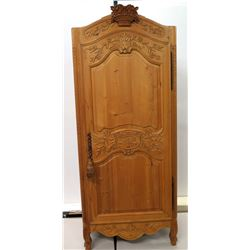"Carved Wooded Armoire Cabinet w/ Adjustable Shelves & Key 34"" x 79""H"