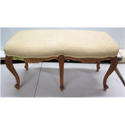 Vintage Queen Anne Style Upholstered Wooden Bench 35  x 16  x 19 H