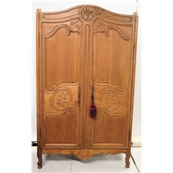 "Carved Wooded 2-Door Armoire Cabinet w/ Tassels 52"" x 82""H"