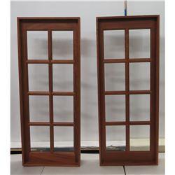 Qty 2 Wood Framed Glass Panels w/ 8 Sections 26  x 66 H