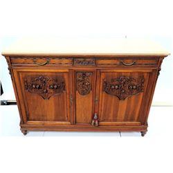 Vintage Carved 2-Door Wooden Cabinet w/ Stone Top & Metal Key 60 L x 21 D x 41.5 H