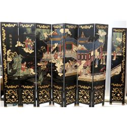 "8-Panel Carved, Painted Black Lacquer Wall Divider (1 Disconnected) Reversible (each panel 16""W x 84"