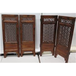 "Qty 2 Geometricl Wood Carved 2-Panel Dividers 32"" x 43""H Each"