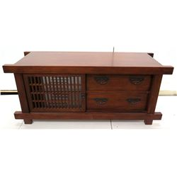 """Wooden Coffee Table w/ Cabinet Wood, Maria Yee Designed in CA, Made in China 57"""" x 25""""H"""