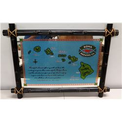"Bamboo Framed 'Kona Brewing Company' Hawaiian Islands Promotional Sign 36"" x 28"""