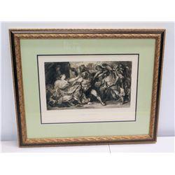 "Samson & Delila' Print of Sketch w/ Gilt Frame 26"" x 22"""
