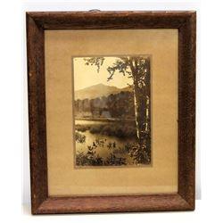 """Framed Vintage Black & White Image: Tranquil Lake & Mountain Scene 14"""" x 18"""""""