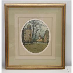 "Framed Colored Sketch: Schloss Kottingbrun (Austria), w/ Artist's Original Signature, Matted 21"" x 2"