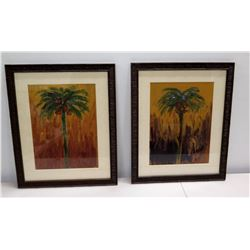 "Pair of Original Palm Tree Paintings, Signed by Artist, Wood-Framed 18"" x 23"""