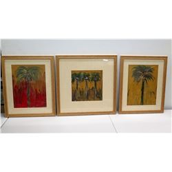 "Trio of Original Palm Tree Paintings, Signed by Artist, Wood-Framed 18"" x 23"""