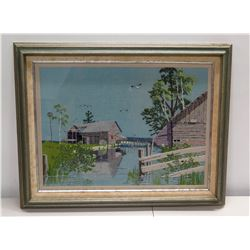 """Framed Vintage Embroidery Art: Seascape w/ Shed & Seagulls 28"""" x 24"""""""