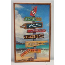 "Framed Giglee on Canvas: Hawaii Pointer Signs - Kailua, Lanikai, Waikiki etc, Artist Edyta 19"" x 31"""
