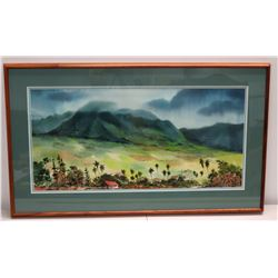 "Large Framed Watercolor Print: Misty Mountains & Plantation Homes 45"" x 27"""