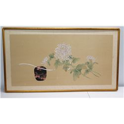 """Framed Japanese Watercolor Art - Peonies (some surface damage) 45"""" x 26"""""""