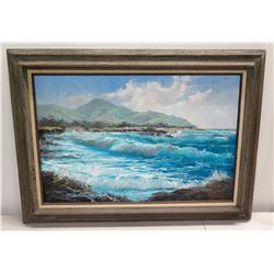 """Framed Original Painting on Canvas """"Sandy Beach"""" by Ed Furuike '87, Signed 36"""" x 27"""""""