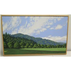 """Framed Original Acrylic Painting on Canvas """"Olena In March"""" Signed, James Warren Perry 1997 41"""" x 26"""