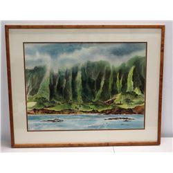 "Framed Original Watercolor, Ko'olau, Signed by Bob Dahlquist H.W.S 38"" x 31"""