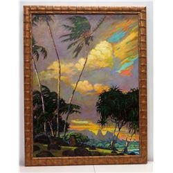 "Large Framed Original Acrylic Painting on Canvas, Hikinaakala Kauai, Signed by Artist 41"" x 53"""