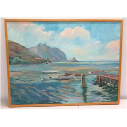 Large Framed Original Acrylic Painting on Canvas, Windward Oahu Ocean Scene, by Mark Brown, Signed 4