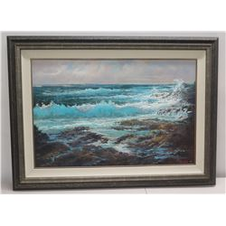 """Framed Original Painting on Canvas """"Makapuu Tides"""" by Ed Furuike '87, Signed 45"""" x 33"""""""