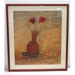 "Large Framed Mixed Media Abstract Print, Two Flowers in Vase, Signed by Sophie R.H. 35"" x 39"""