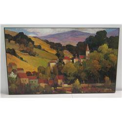 "Original Painting: Hillside Village w/ Church, Signed by Artist 50"" x 31"""