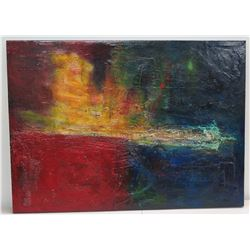 "Large Abstract Oil on Canvas Painting: Red/Yellow/Blue Composition, Signed 54"" x 40"""