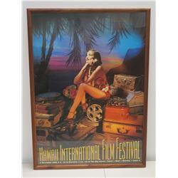 """Framed 'Hawaii International Film Festival' Poster Nov. 1998 (28"""" x 39"""")"""