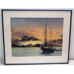 "Framed Watercolor ""Caribbean Sunset"" Signed by Artist Warren W. Zimmer 36"" x 30"""