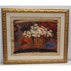 """Framed Abstract Art: Still Life Flowers & Fruit, 22/385 Signed by Artist 53"""" x 45"""", Gilt Frame"""